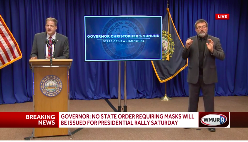 Governor Chris Sununu gives a press conference Tuesday, July 7, 2020