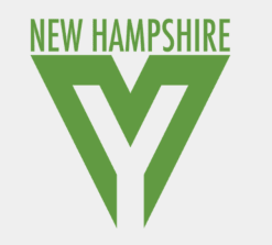 """The New Hampshire Youth Movement Logo - it is green writing that says """"New Hampshire"""" with a large """"Y"""" symbol below."""