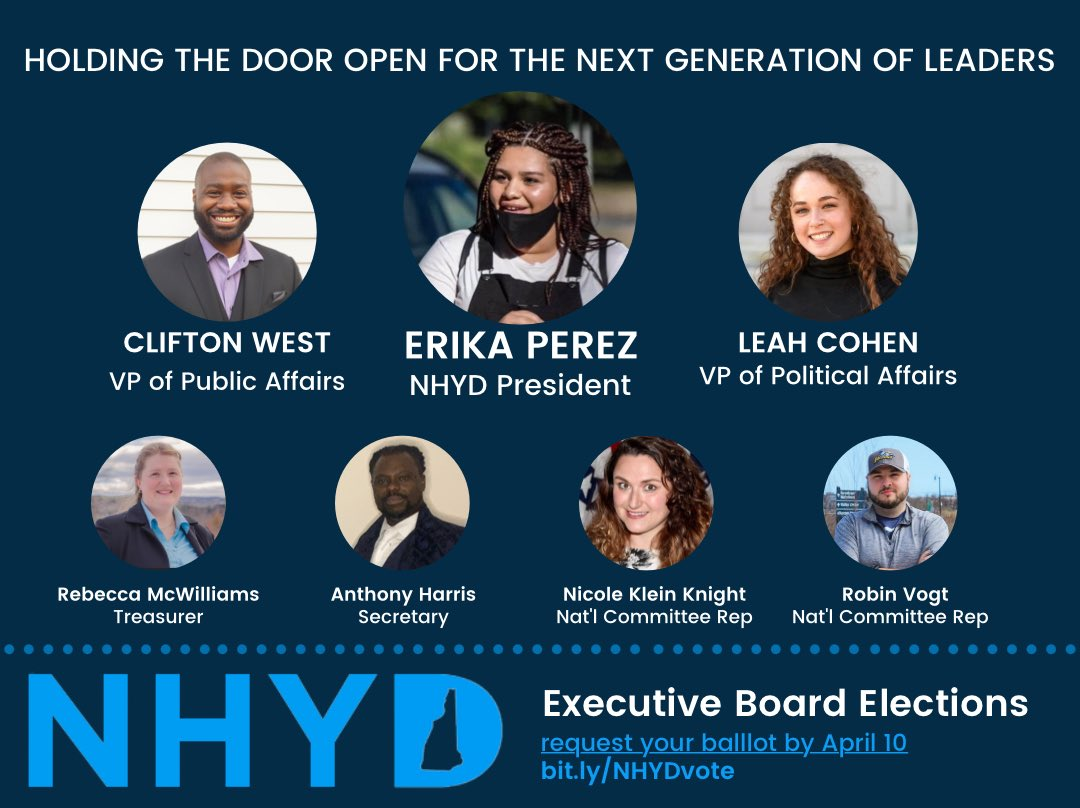 """dark blue graphic that shows photos of Clifton West Jr (for VP of Public Affairs), Erika Perez (for NHYD President), Leah Cohen (for VP of Political Affairs), Rebecca McWilliams (for Treasurer), Anthony Harris (for Secretary), and Nicole Klein Knight and Robin Vogt for National Committee members. Text at the top reads """"holding the door open for the next generation."""" Text at the bottom reads NHYD Executive Board Elections, Request your ballot by April 10th bit.ly/NHYDvote"""